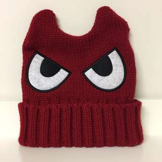 Red Knit Beanie Hat with Ears (RRP: $20.00)