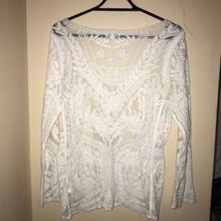 HnM White Lace Top