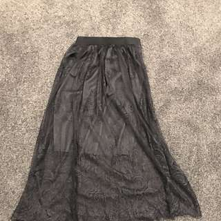 Lace Black Midi Skirt with Lining