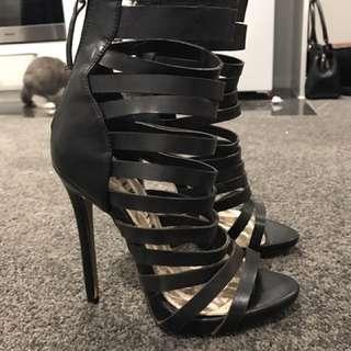 Black Strappy Heels Size 5