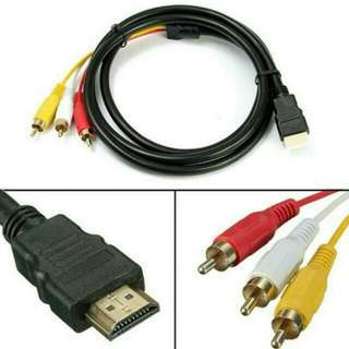 BNIP 5ft/1.5m HDMI to 3RCA Extension Signal Cable Adapter for HDTV DVD