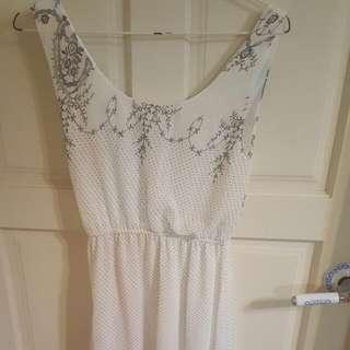 白色雪紡紗長裙,長版洋裝#100元洋裝