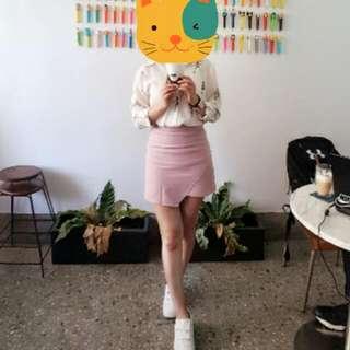 高腰A字顯瘦粉紅群裙