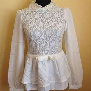 White Laced Longsleeve Top
