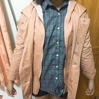 正韓粉色風衣外套