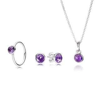 PANDORA Droplets Jewelry Set (amethyst)