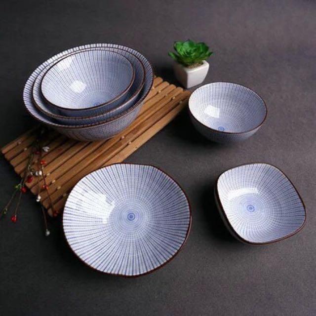 放射紋(4.5飯碗)創意日式和風陶瓷餐具套裝釉下彩手繪米飯碗小烤碗 醬料碗小湯碗