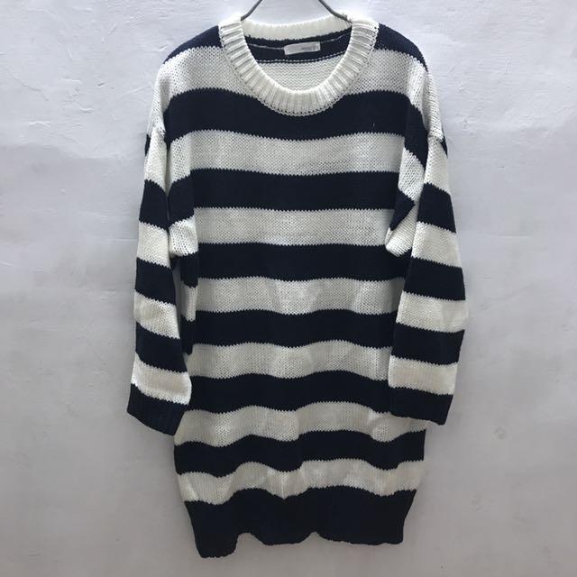 全新-條紋長版針織毛衣