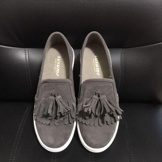 正韓流蘇真皮懶人鞋