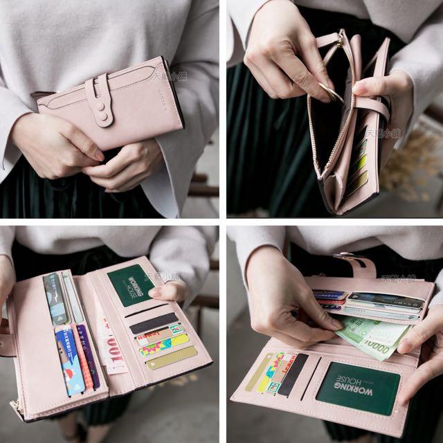 黑色長皮夾錢包多卡層簡單經典
