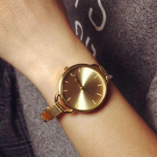 韓版細錶帶 金錶