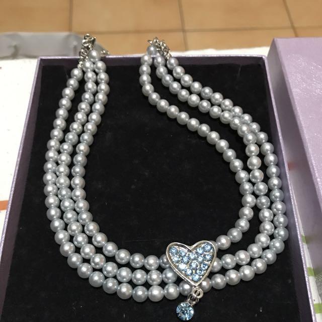 藍色珍珠項鍊 晚宴 餐聚