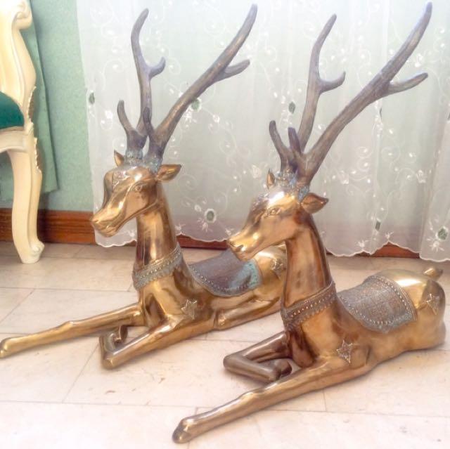 Antique Brass Deer Statues (pair)