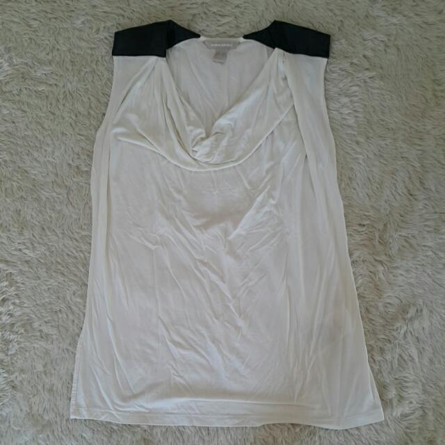 Banana Republic Sleeveless Shirt With Faux Leather Shoulders