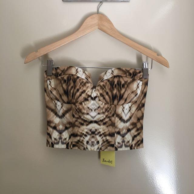 Bardot Leopard Print Crop Corset