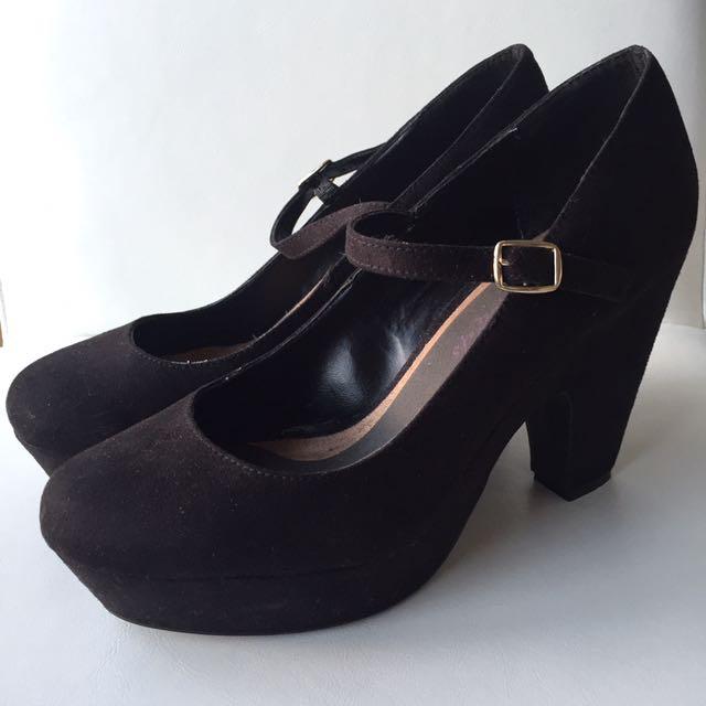 Black Suede Mary Jane Heels