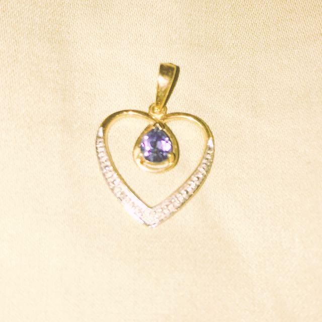Blue Sapphire Two Tone Pendant