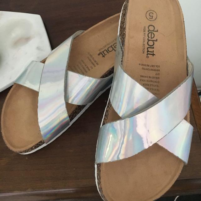 Brand New Metallic Slip Ons