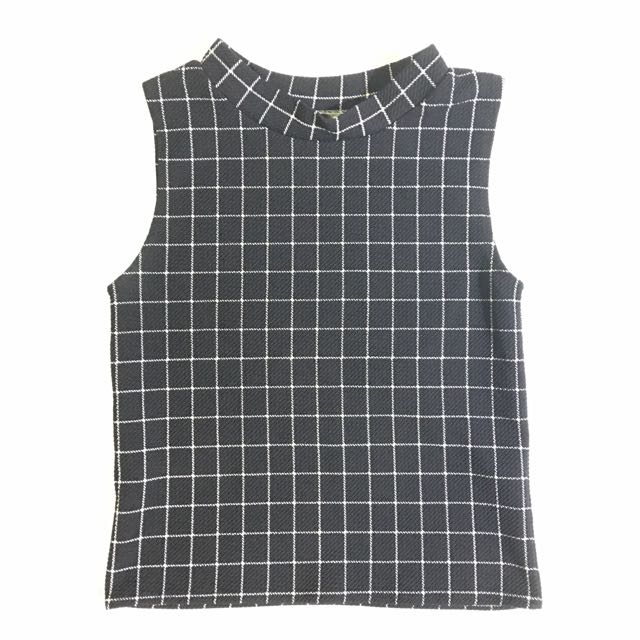 Checkered Turtleneck Top
