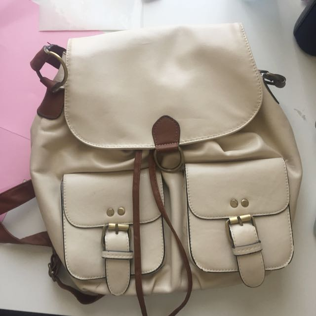 Cream/Brown Pleather Drawstring Backpack