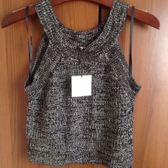 Crop Grey Knit Top
