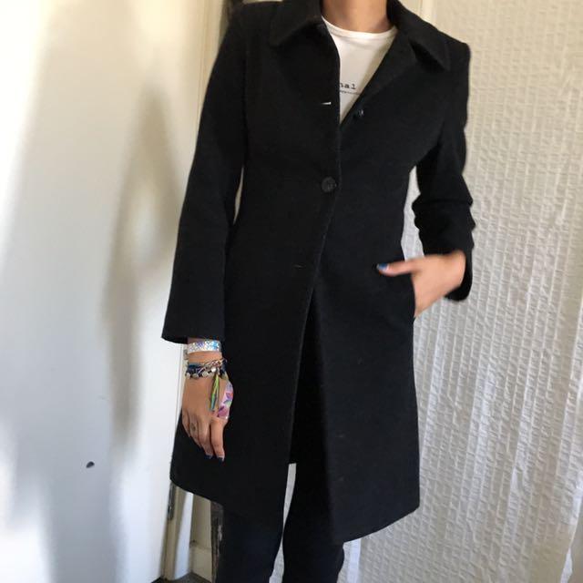 Dark grey wool winter coat