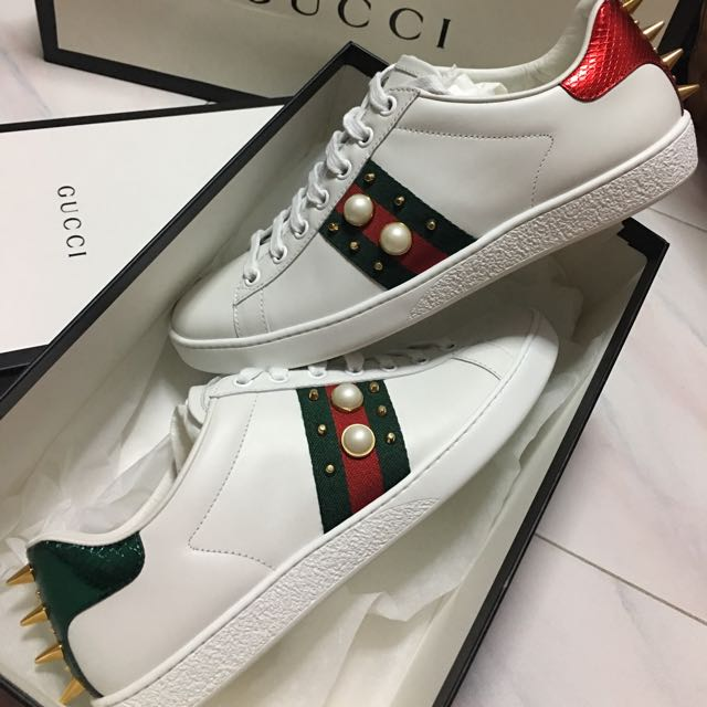fa53478f119 GUCCI Ace studded leather low-top sneaker