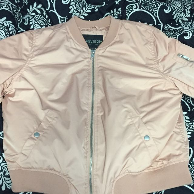F21 nude pink Bomber Jacket