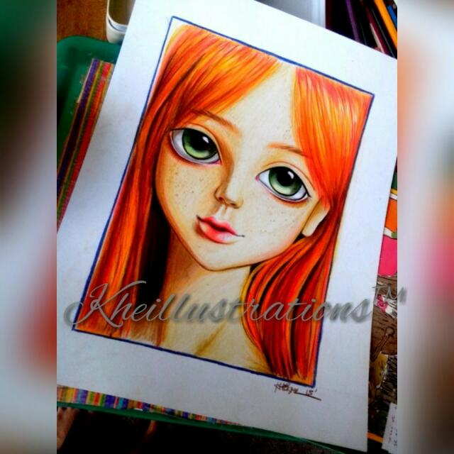 Ginger Doll In Colored Pencil Artwork