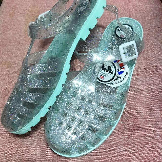 🇬🇧juju涼鞋 亮片透明薄荷色