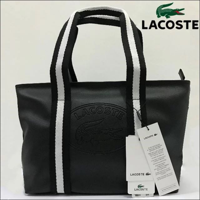 520825fe57 National Day Sales Lacoste Summer Zip Tote Bag-Black White, Women's ...