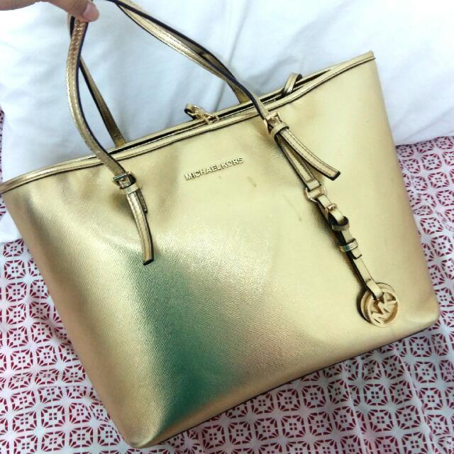 Michael Kors Gold Handbag Gred AAA a2547c4d3d160