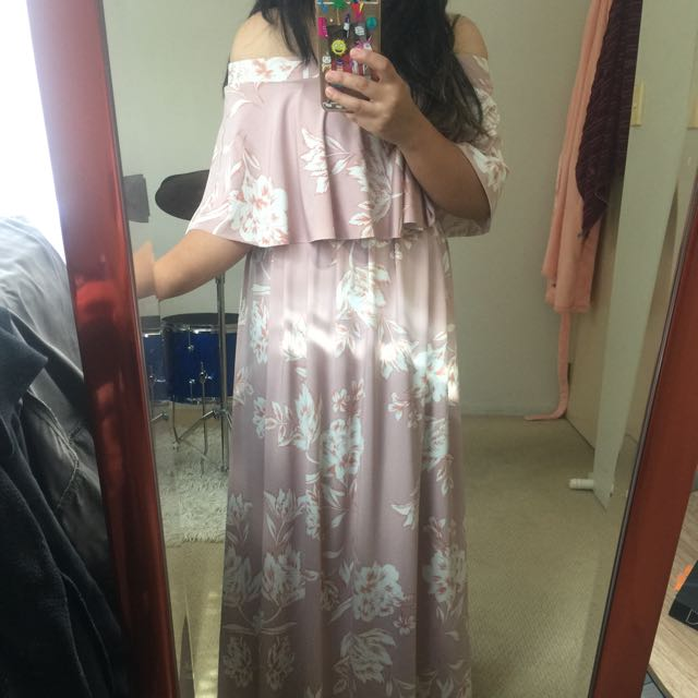 Pink Floral Off Shoulder Maxi Dress