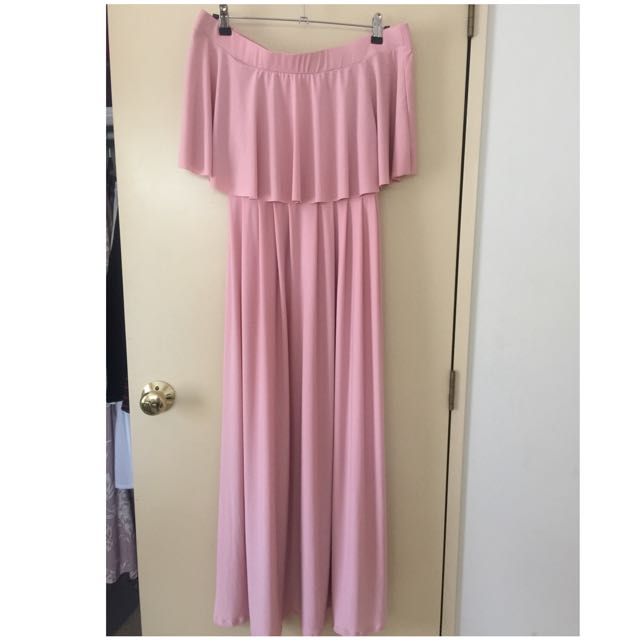 Pink Off Shoulder Maxi Dress