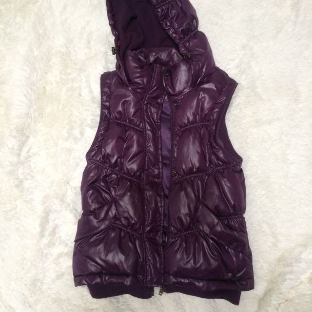Purple puffer vest with hoodie