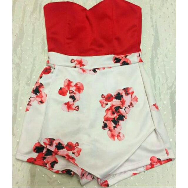Red And White Tube Skirt
