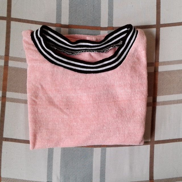 Salmon pink baseball crop top