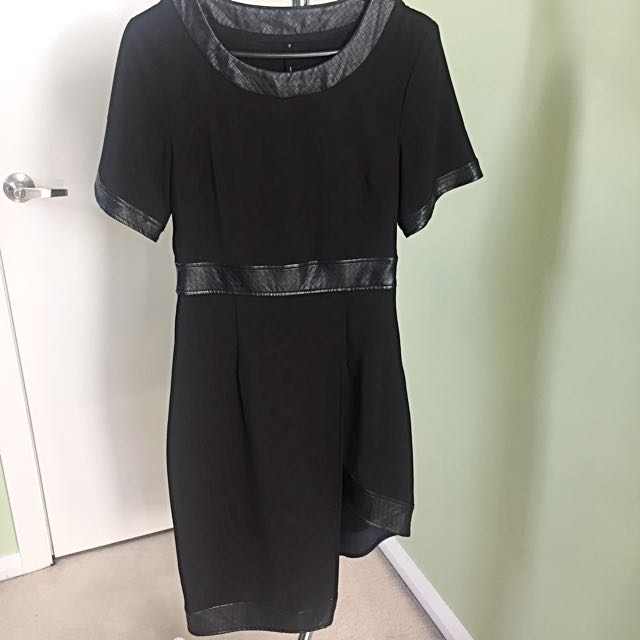 Staple The Label Leather-trim Dress Size 10