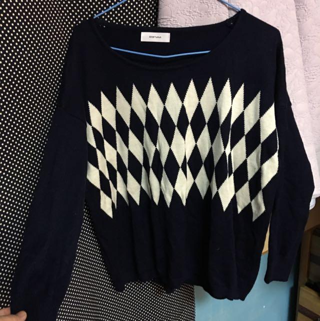 格紋針織上衣(starmimi)