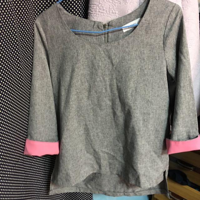 Starmimi 粉紅袖子灰色上衣