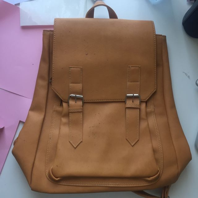 Tan Pleather Backpack