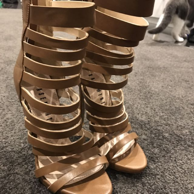 Tan Strappy Heels Size 5
