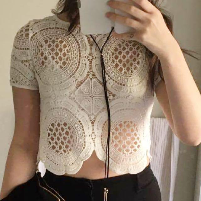 White Crochet Crop