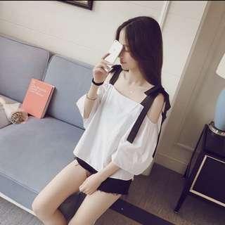 韓版 一字領露肩 顯瘦 短袖上衣