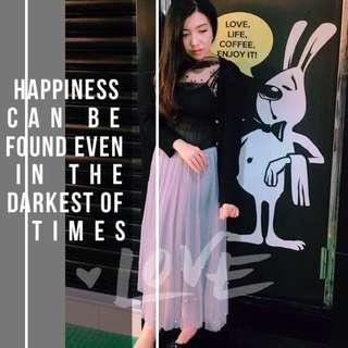 灰色裙/網紗上衣