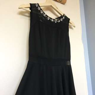 NEW Korean Bejewelled Black Dress