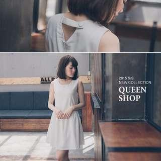 Queenshop後開釦細摺無袖小洋裝