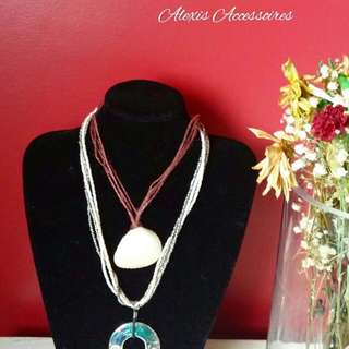 Sea Shell And Silvsr Curcular Beaded Necklace