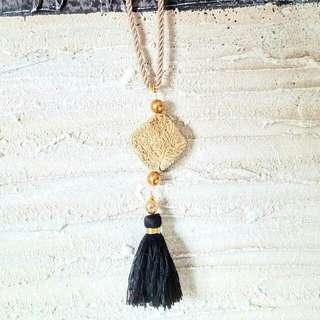 Womans Long Healing Jasper Necklace With Navy Blue Tassel
