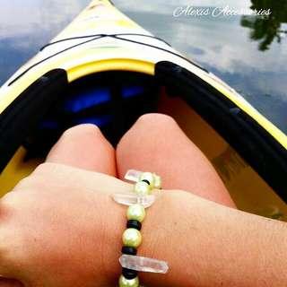 Green Pearl Bracelet With Clear Healing Quartz Sticks Bracelet